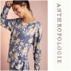 Anthropologie Floral Brushed Fleece Sweatshirt New